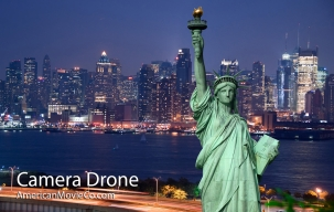 Drone shot of Statue of Liberty AmericanMovieCo.com