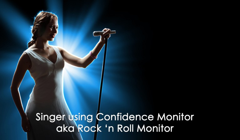 Singer using a Confidence Monitor aka Rock 'n Roll Monitor at AmericanMovieCO.com