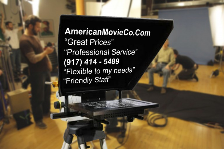 teleprompter with copy visible on set