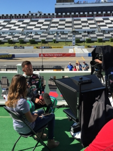 Teleprompter interview at NASCAR Raceway AmricanMovieCo.com