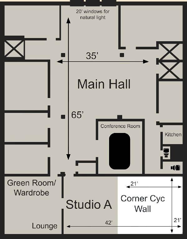 Map/ floor plan of the studio.