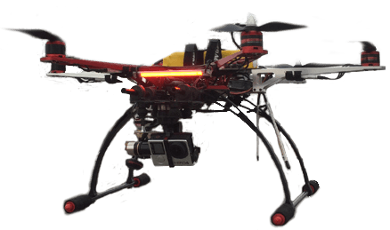 Graphic of our DJI 550 Hexacopter in flight.