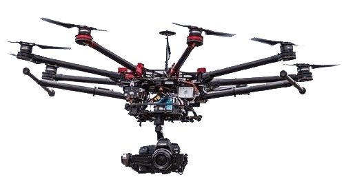 Graphic of our DJI S1000 Octocopter in flight.
