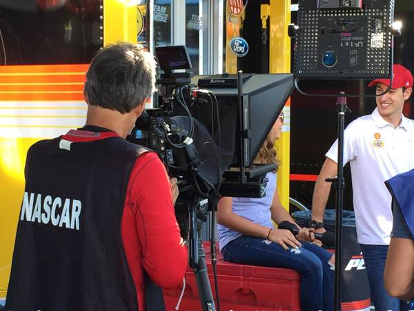Interrotron Rental - our Interrotron Mark 4 being used for an interview at Nascar