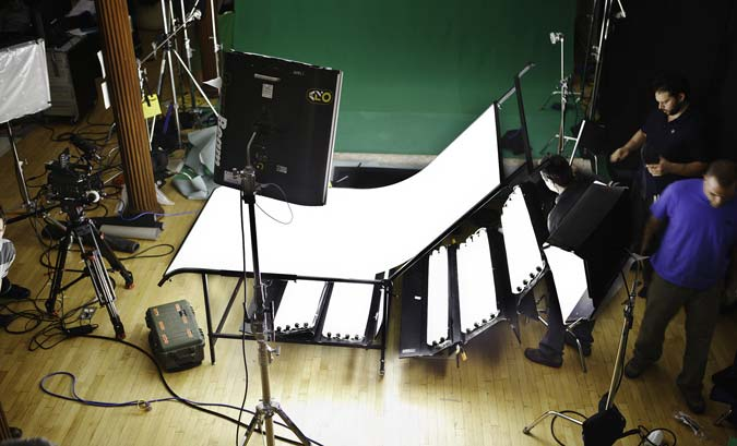 light source for green screen - studio interior