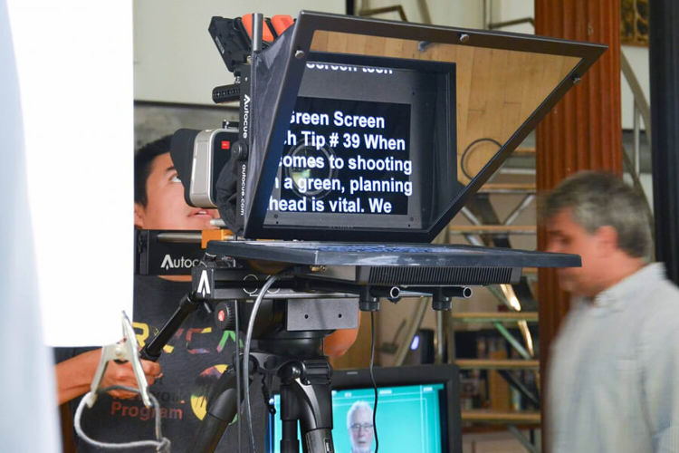12 inch Standard Teleprompter rental in action on set.