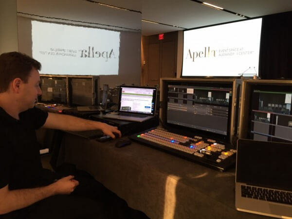 One of our live WebCasting technicians live broadcasting a conference using a TriCaster. The conference in question was Ending World Hunger.