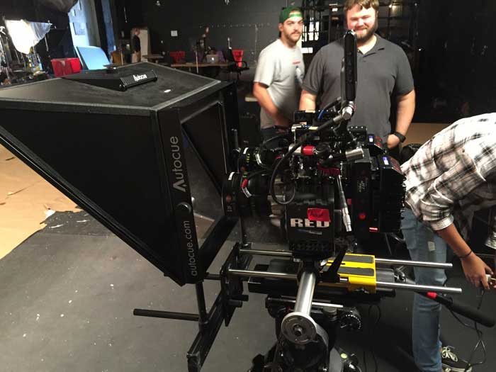Image of our dual camera teleprompter setup. Use this prompter with two cameras at once!