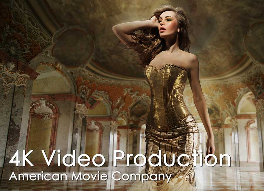 Video production: woman in music video with gold dress