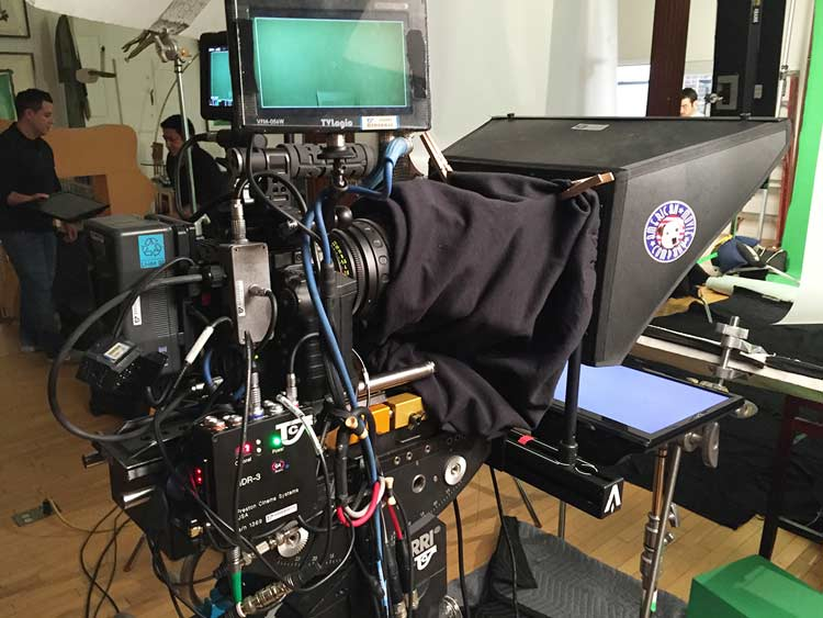 Teleprompter setup in the studio - operator in the back