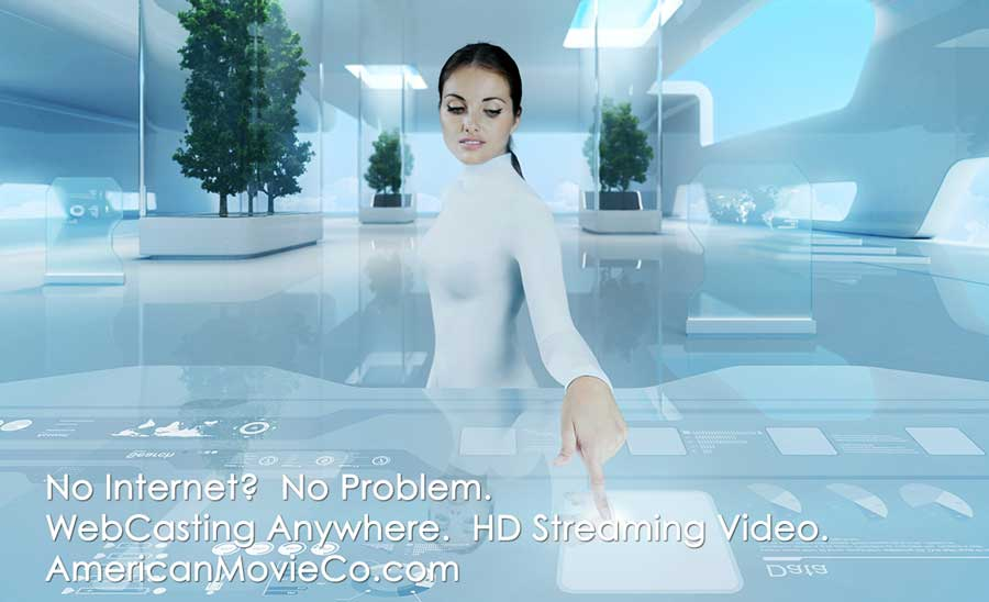 woman in futuristic scene doing a webcast