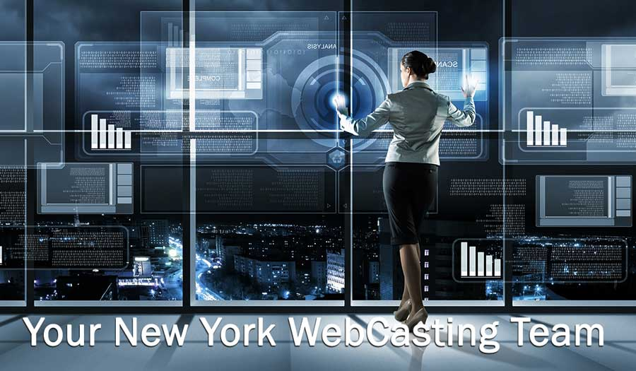 woman looking over nyc doing a webcast
