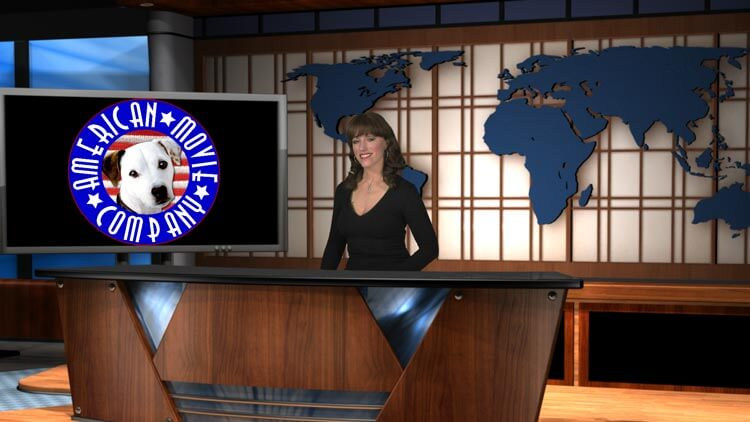 Large AMC logo on desk - Woman anchor behind desk - newsroom