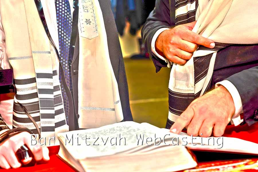 Bar Mitzvah WebCasting - Men reading from the Torah