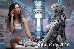 Webcast of Robocon 2016 with poster of woman playing chess with robot