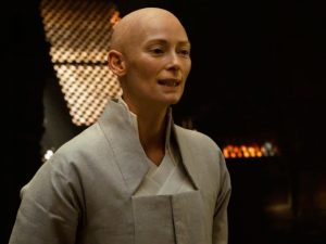 Tilda Swinton as The Ancient One, in Dr Strange.