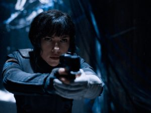 Scarlet Johansson, as Major Motoko Kusanagi, in Ghost in the Shell.