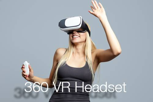 360 VR Headset - Smiling blonde