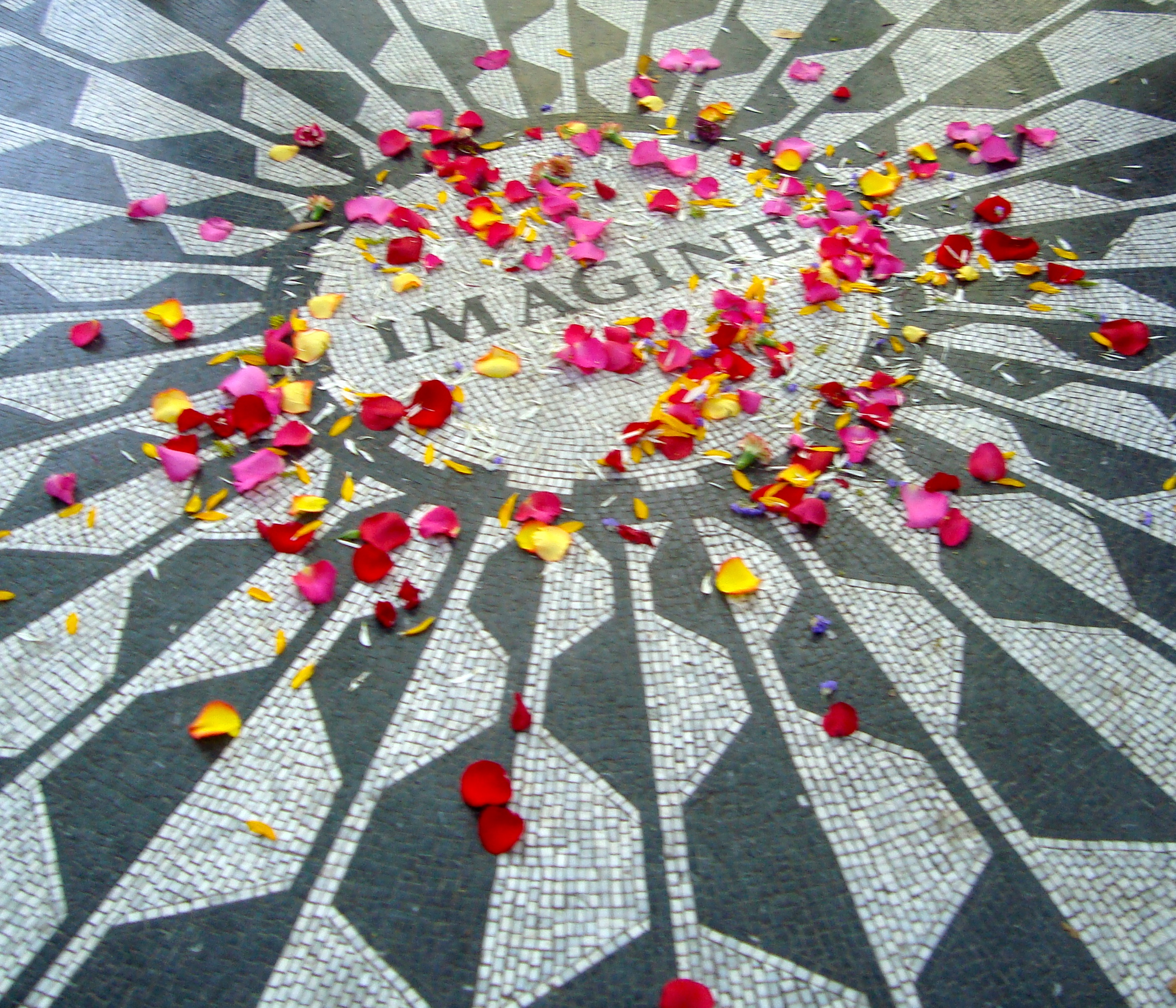 The Imagine tile in honor of John Lennon in Central Park - strewn with flowers.