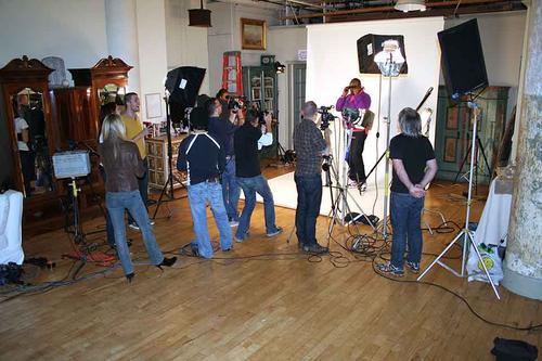 Studio - lots of people standing around