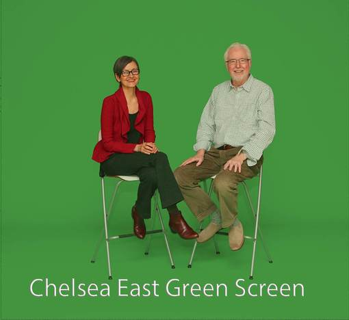 Chelsea East Green Screen - 2 people sitting on stools