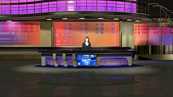 Woman in a virtual set behind desk