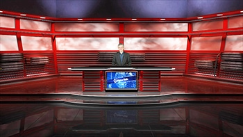 Virtual set - Red background - man behind desk