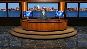 Virtual set - anchor behind wooden desk - windows