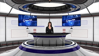 Virtual set - white background - woman behind desk