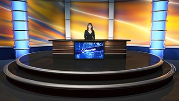 Virtual set - Woman behind desk - NEWTEK - world update