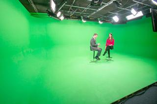 Chelsea North Green Screen Sound Stage - two people on stools