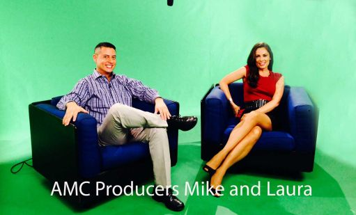 Image Mike & Laura producers at american movie company . young handsome man and woman on couch