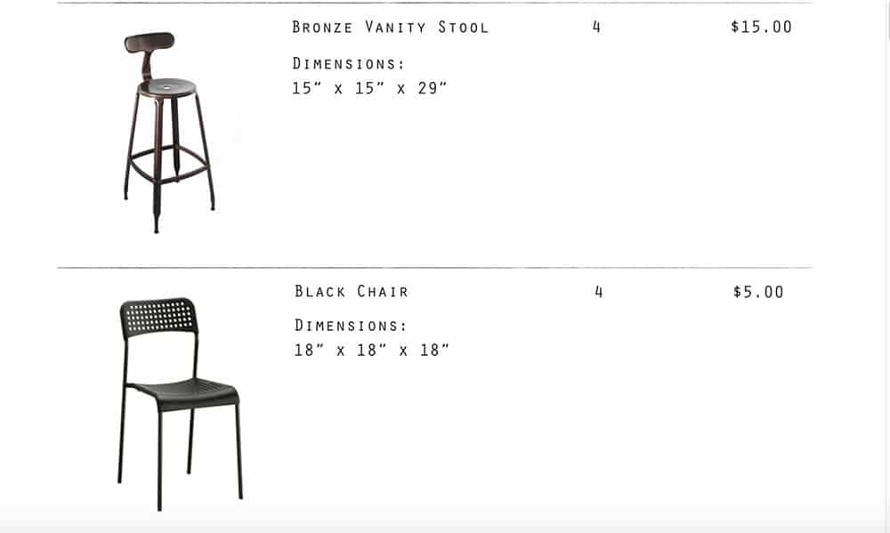 Image - Bronze Vanity stool, black chair