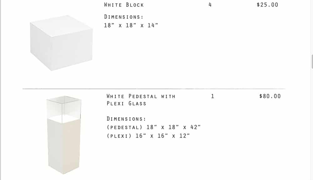 White Pedestal with Plexi Glass, White Block