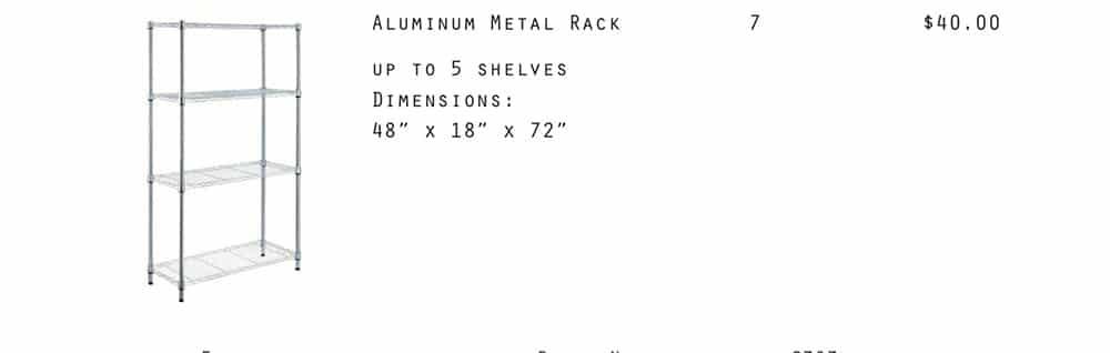 Aluminum Metal Rack