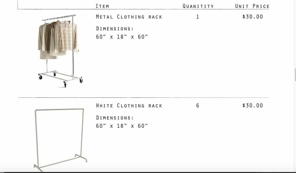 Two clothing racks