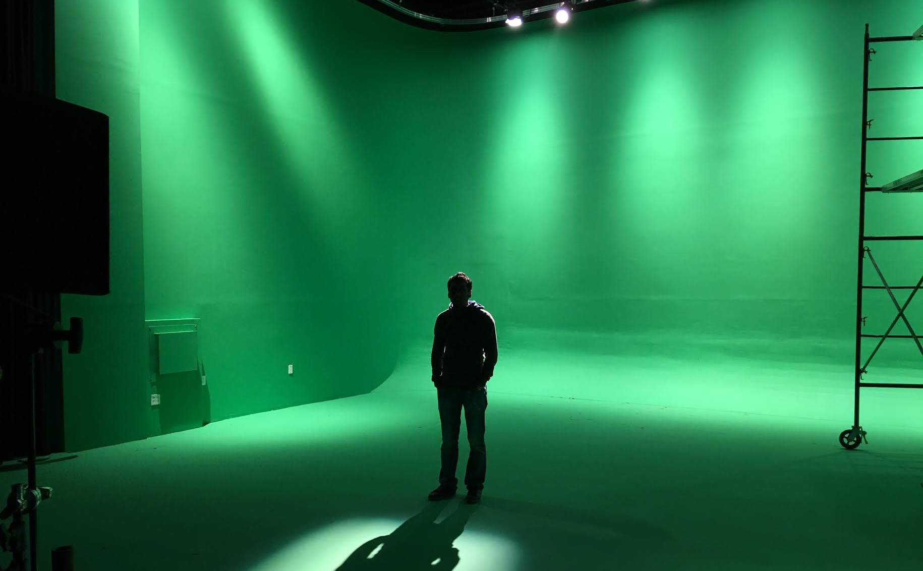 Lone man/shadow against Green Screen - Astoria