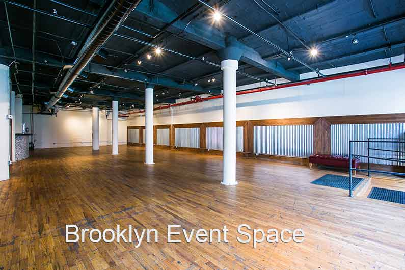 Brooklyn Event Space . large room with high ceilings and white columns down the center