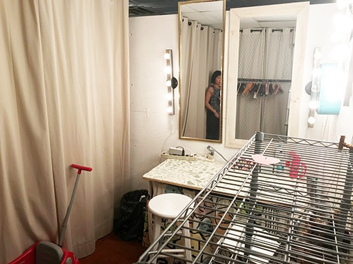 Budget Makeup . make up and wardrobe area of Tribeca stage, with mirror and lights
