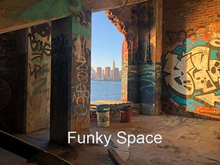 Funky Space 320 . with graffiti and view of manhattan
