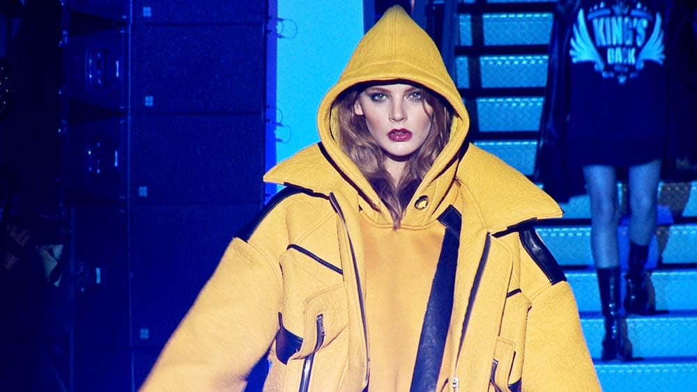 Model In Yellow Hoodie Coat