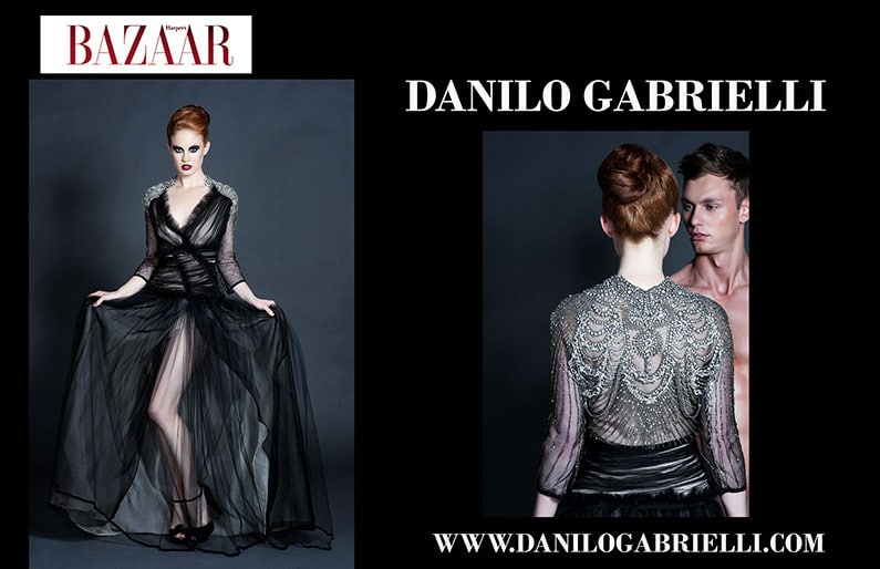 Harpers Magazine open with two pages showing Danilo Gabrielli fashions against a black background