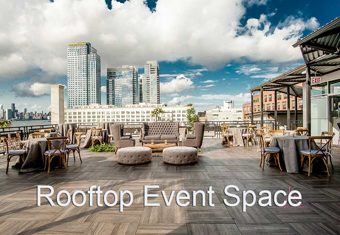 Rooftop Event Space with blue sky chairs