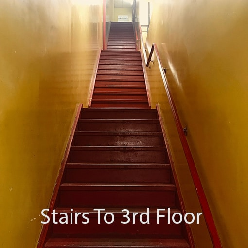 Very steep flight of stairs straight up to 3rd floor