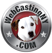 WebcastingNY.com logo .white dog on red . background with silver outer ring . with URL name