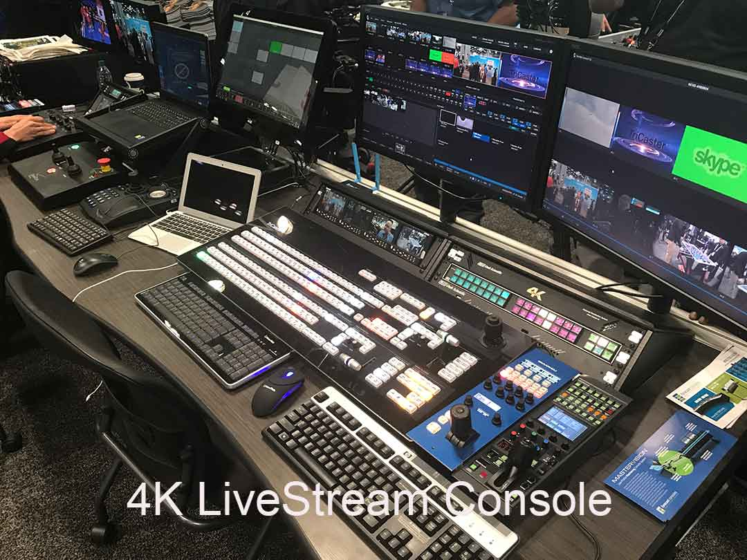 * 1080 Massive 4K LiveStream Console with Tricaster 8000 and LiveStream encoder, switches, monitors and digital recorders