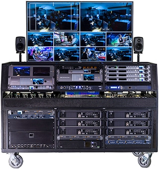 Top of the line Live Stream Tricaster Flypack in large rolling multi RU unit