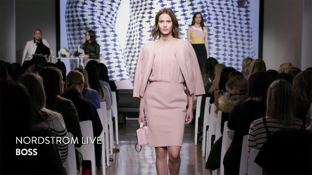 Nordstrom Live Webcasting Event. Model in white walks directly to camera