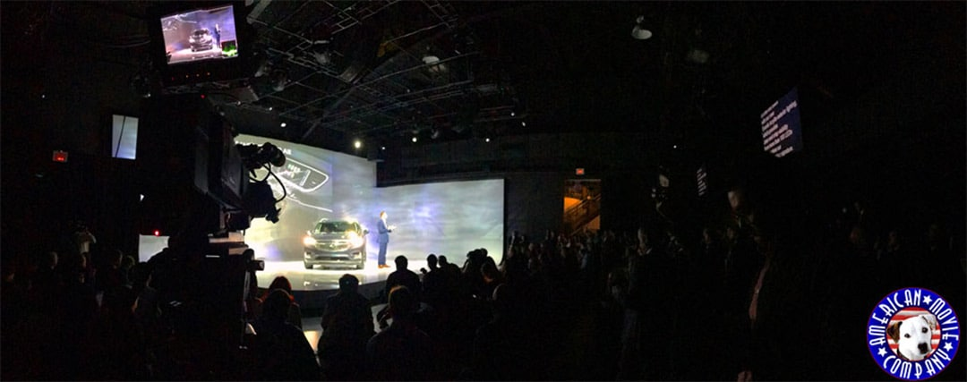 WebCast of new Buick Avenir at huge stage on NYC Stage. American Movie Company logo on lower right