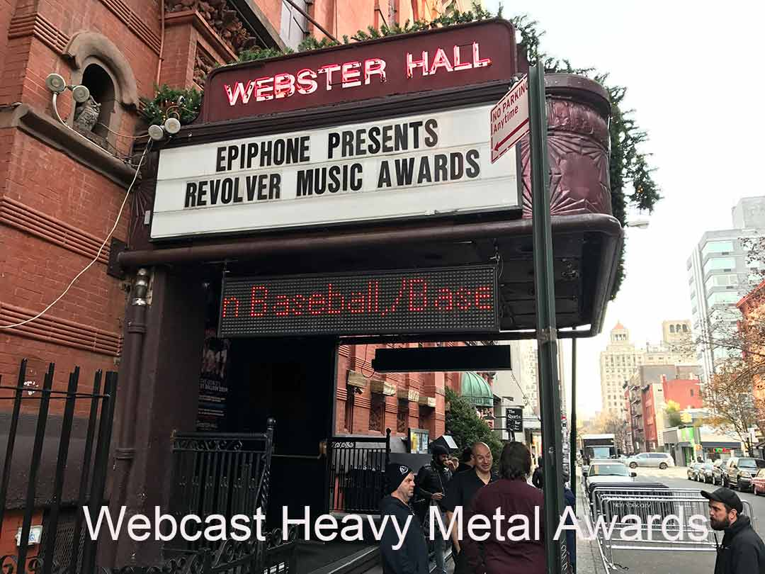 """The outside of Webster Hall NYC with caption """"Heavy Metal Webcast Awards"""""""